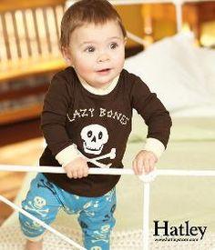 Adorable PJs! Infant Long Sleeve PJ Set- Skulls-hatley, boy, girl, trendy, baby boutique, pjs, pajamas, winter, fall, rain, raingear, weather gear, rain coat, umbrella, rain boots, baby, toddler, back to school, skulls