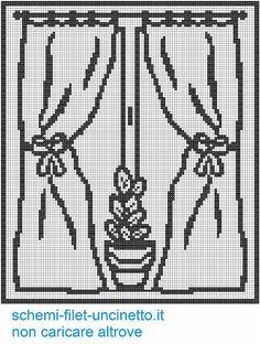 Tenda filet vaso sulla finestra schema filet uncinetto