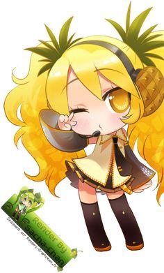 Render Vocaloid chibi hatsune miku ananas pineapple fan art arts ...