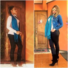 Jeans: Jennifer López  Botines: Steve Madden  Jacket: Guess  Pashmina  Blusa cuello de Tortuga: tubetube Aviator