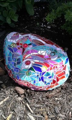 Abstract Mosaic Garden Rock
