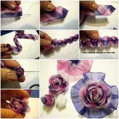 I ❤ ribbonwork . . . DIY Ribbon Roses picture tutorial