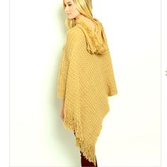 ⏰⏰ COMING SOON! ⏰⏰ Stunningly cozy beige fringe poncho! NWOT. Comment to reserve. linsleppo2 Sweaters Shrugs & Ponchos
