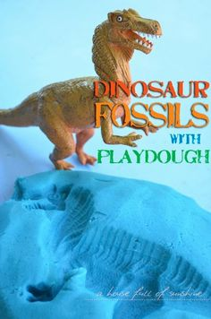 Dinosaur fossils with playdough - easy and fun kids activity on A house full of sunshine.com!
