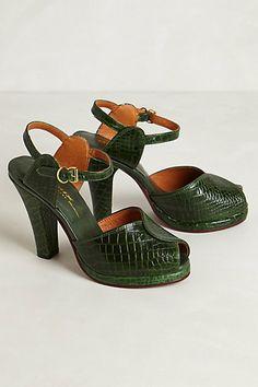 Miranda Ankle-Strap Pumps by Remix Vintage-Anthropologie F/W 2013 (Get size Peep Toe Shoes, Pump Shoes, Shoe Boots, Shoes Heels, Croc Heels, Green Pumps, Green Shoes, Crazy Shoes, Me Too Shoes