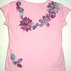 Tie Dyed Flower Trim T shirt in Pinks and Purples by RedeemedByRed.etsy.com