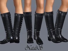 Studded Leather Boots by NataliS  http://www.thesimsresource.com/downloads/1168209
