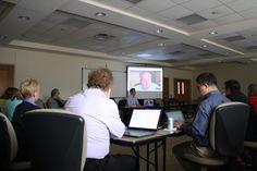 Robert Parham, EthicsDaily.com executive editor, speaks to the BCE board via Google Hangout during the 2016 BCE board meeting at Truett Seminary in Waco, Texas.