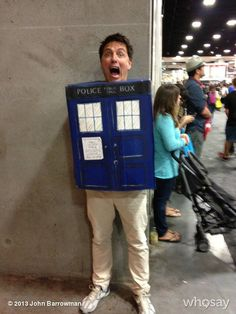 "John Barrowman as a TARDIS. Anybody want to guess at how often he said ""It's bigger on the inside""?"