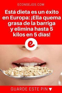Perder 5 kilos en una semana   Está dieta es un éxito en Europa: ¡Ella quema grasa de la barriga y elimina hasta 5 kilos en 5 días!   El suceso de ésta dieta tiene una razón. Sus resultados son bastante visibles: ¡Elimina hasta 5 kilos en 5 días! Sepa cómo hacerla.