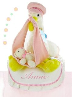 Stork Nest One Tier Baby Girl Diaper Cake - Pink - As Your Baby Grows Gift Boutique