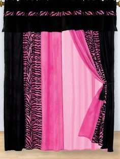 8 PC MODERN HOT PINK PINK ZEBRA MICRO FUR CURTAIN SET