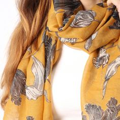Ladies' Mustard coloured flower and leaf print scarf, by Style Slice, features a vintage botanical pattern. Elegant spring or summer shawl that can be personalised with a charm or a monogram. Suitable as a gift for anniversary, birthday or any day in which to tell the woman in your life, be it a Mum, Wife, Sister or Girlfriend, that she is special. #scarf #shawl #wrap #scarves #fashion #vintage #handmade #acessories #etsy #gift #tulip #flower #headwrap #ootd #personalized