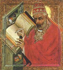 Le pape Grégoire le Grand par maître Théodoric, couvent Sainte-Agnès, Prague.