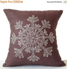 Items similar to Taupe Burlap Pillows -Decorative Pillow -Snowflake -Throw Pillow Cover -Designer Cushion -Silver Sequin Snow Pillows -Bedding -Gift on Etsy Monogram Pillows, Burlap Pillows, Decorative Pillows, Christmas Cushions, Christmas Pillow Covers, Throw Pillow Cases, Throw Pillows, Quilted Wall Hangings, Snowflakes