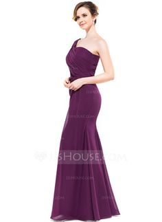 499019fc53 Trumpet Mermaid One-Shoulder Floor-Length Chiffon Bridesmaid Dress With  Ruffle (007051363)
