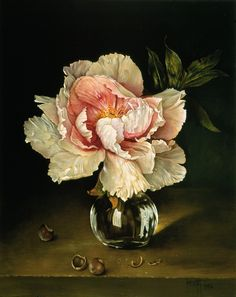 Jose Escofet (b. — Single Pink Peony, via art ingo Painting Still Life, Still Life Art, Art Floral, Flower Vases, Flower Art, Floral Illustration, Wow Art, Flower Of Life, Botanical Prints