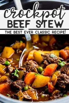 Serve up a hot meal without the fuss for your family tonight: This crock pot beef stew is the perfect easy comfort food dinner. Serve up a hot meal without the fuss for your family tonight: This crock pot beef stew is the perfect easy comfort food dinner. Fall Crockpot Recipes, Stew Meat Recipes, Fall Dinner Recipes, Healthy Recipes, Fall Recipes, Dinner Ideas, Easy Healthy Crockpot Meals, Simple Recipes, Cooker Recipes