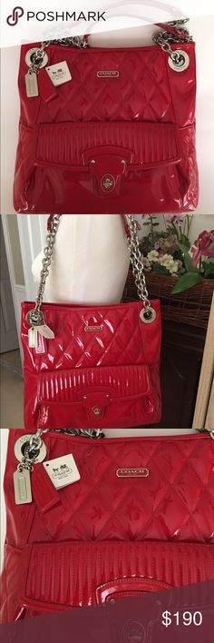 """NWT🎅🏻 REDUCED 🎄Coach patent leather red handbag NWT... Authentic Beautiful Coach patent leather red hot handbag with silver hardware. See photo for detailing, one large pocket on front of bag, inside 2 slip pockets and one zippered pocket, snap closure, top to bottom 12 1/2"""", length 13"""", width 3"""", no trade, no pp, smoke and pet free environment. Coach Bags Shoulder Bags"""