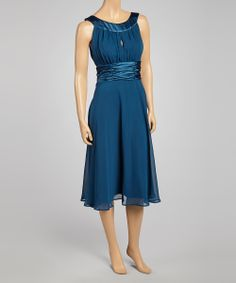 Teal Ruched Sleeveless Dress
