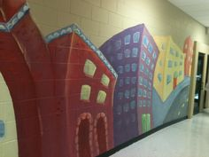 hallway mural in school   wacky buildings by Valentine Helmich