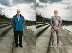 """In his new series """"Covered,"""" London-based photographer Alan Powdrill captures pictures of working class London citizens with tattoos, both with their clothes on and with them off, revealing their nearly chin to toe body art.  While some didn't get th    From extrahappyfuntime"""