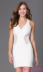 Buy Short Sleeveless Ivory V-Neck Dress 1003 by Emerald Sundae at PromGirl