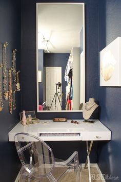 This vanity area is part of my dream master closet. So much organization!