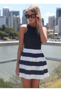 Navy & White Strapless Stripe Dress with Pleather Bustier