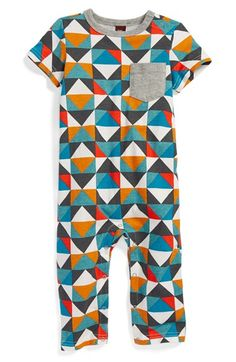 Free shipping and returns on Tea Collection 'Patchwork Tile' Romper (Baby Boys) at Nordstrom.com. A contrast chest pocket and bright geo patterns add to the laid-back vibe of a soft cotton-jersey romper.