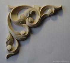 Купить Резной деревянный элемент ручной работы. Резной декор в интернет магазине на Ярмарке Мастеров Wood Carving Designs, Wood Carving Patterns, Thermocol Craft, Leather Tooling Patterns, 3d Cnc, Chip Carving, Cnc Wood, Art Carved, Clay Design