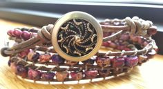 triple antiqued gray leather wrap bracelet with purple dream jasper, with metal shank button - sold