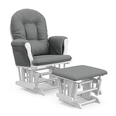 Perfect for your Baby and Nursery 41pneBiykiL,Nursery Glider and Ottoman Rocker Chair in White and Grey for Mother and Baby, This is the ideal glider and ottoman combination for your nursery with generous seating room, padded arm cushions and a pocket to store your belongings Featuring metal, enclosed ball bearings for a smooth glide motion to help you unwind The back and seat cushions are... Glider And Ottoman, Glider Chair, Glider Rockers, Ottoman Cushions, Best Glider, Lounge Chair, Rocking Chairs, Beige Cushions, Home