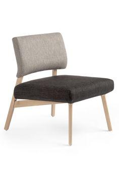 Chaise moderne en bois et tissu avec boutons Soda Mobitec