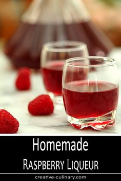 Homemade liqueurs are so easy to make and I love making them for all seasons. Summer is a wonderful time for Homemade Raspberry Liqueur; there are so many great ways to enjoy it! via Creative Culinary Homemade Liqueur Recipes, Homemade Alcohol, Homemade Liquor, Easy Cocktails, Cocktail Drinks, Cocktail Recipes, Vodka Cocktails, Martinis, Drink Recipes