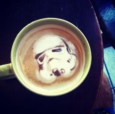 Stormtrooper Latte Art. because why not...someone make me some Clone Trooper, or Clone Commando latte art... :)