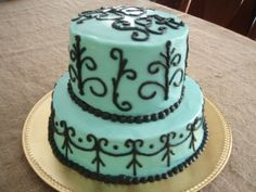 Black and Blue Tier - This was for a girls 13th Birthday. All buttercream icing.