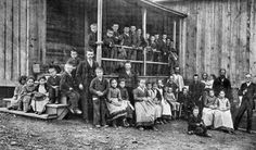 Waldensian schoolchildren and teacher (standing beside steps) at Valdese, NC, ca. 1905.   ---North Carolina Collection, University of North Carolina at Chapel Hill Library.