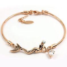FC Rose Gold Plated CZ Swarovski Crystal Mermaid Bangle Bracelet | Amazon.com