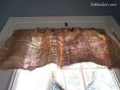 Thinking Burlap & Fabric Paint Might just get me the look I want with the wide stripes.  Burlap love {diy curtains} - Debbiedoo's