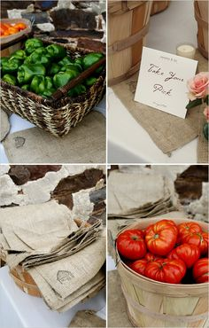 Why not use local produce as favors? Using a monogrammed burlap croker sack takes it up a notch!