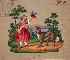 Girl with little bird and dog embroidery design, 19th century