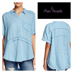 "Free People Linen Blend Shirt A sheer lattice knit trims the Weekend Escape shirt, adding a unique touch to this linen blend construction. - Spread collar - Front partial button closure - Short sleeves with rolled cuffs - 1 chest patch pocket - Lattice knit trim - HI-lo hem - Approx. 28"" shortest length, 31"" longest length - Color;  Chambray - 59% linen, 41% cotton - Hand wash cold Free People Tops"