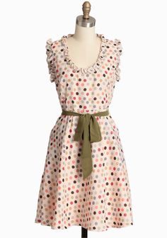 Forever Blissful Polka Dot Dress By Knitted Dove 94.99 at shopruche.com. This silky cream dress by Knitted Dove is adorned with a colorful polka dot print, feminine ruffles, and an optional waist-defining sash. Perfected with front pockets, a classic A-line skirt, and a hidden side zipper...