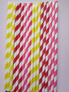 24 Hot Pink Red Yellow  Vintage Retro Paper by DKDeleKtables