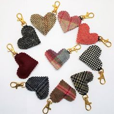 Padded Heart Keyring Harris Tweed and others, great for keys, bags or gift