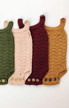 Hand Crocheted Organic Cotton Rompers | jharlowandco on Etsy