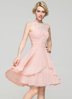 [US$ 111.59] A-Line/Princess Scoop Neck Knee-Length Chiffon Homecoming Dress With Cascading Ruffles