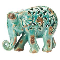 "Find it at <a href=""http://www.bombaycompany.com/"" target=""_blank"">bombaycompany.com</a>  - Fretwork Ceramic Elephant Statue - Teal"