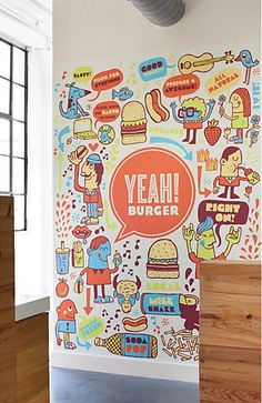 Illustrated Wall for Yeah! Burger by Tad Carpenter